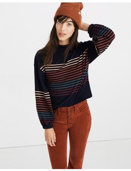 Bubble Sleeve Mockneck Top In Kinzie Stripe by Madewell