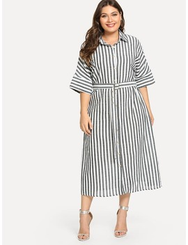 Plus Batwing Sleeve Pinstripe Shirt Dress by Shein