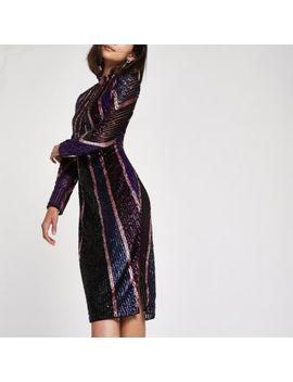 Bright Purple Sequin High Neck Bodycon Dress by River Island