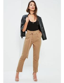 Nude Paperbag Waist Cigarette Trousers by Missguided