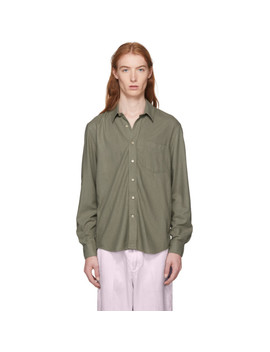 Green Drab Silk Noil Classic Shirt by Our Legacy
