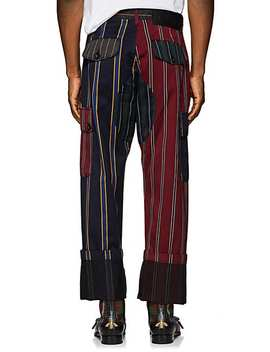 Patchwork Striped Wool Cotton Cargo Trousers by Loewe