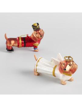 Glass Angel And Soldier Dachshund Ornaments Set Of 2 by World Market