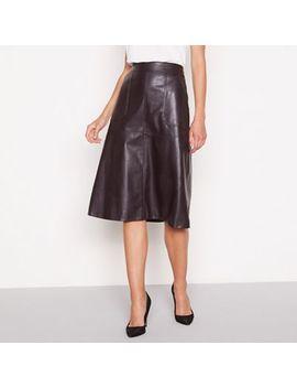 Principles   Dark Brown Faux Leather Knee Length Skirt by Principles