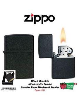 Zippo Black Crackle Lighter, Regular Classic #236 by Zippo