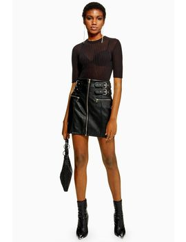 Tall Leather Look Buckle Mini Skirt by Topshop