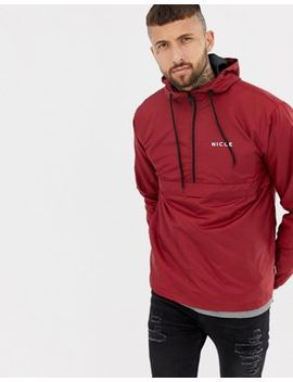 Nicce Overhead Jacket In Red With Hood by Nicce