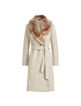 Faux Fur Trim Shawl Coat by Ralph Lauren