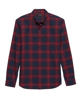 New Slim Fit Luxe Flannel Plaid Shirt by Banana Repbulic