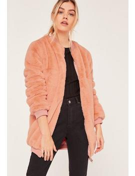 Pink Longline Faux Fur Bomber Jacket by Missguided