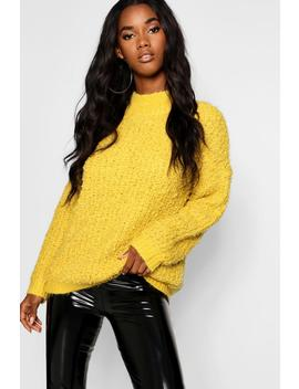 Boucle Feather Knit Chenille Jumper by Boohoo