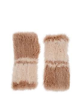 Knitted Mink Fur Fingerless Mittens by Barneys New York