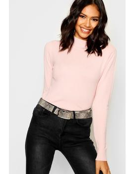 Knitted Premium Turtle Neck Top by Boohoo