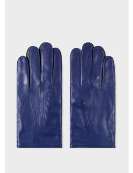 Men's Cobalt Blue Leather Concertina Gloves by Paul Smith