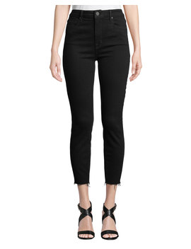 Bombshell High Rise Skinny Cropped Jeans W/ Raw Hem by Parker Smith