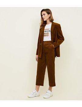 Dark Brown Corduroy Cropped Trousers by New Look