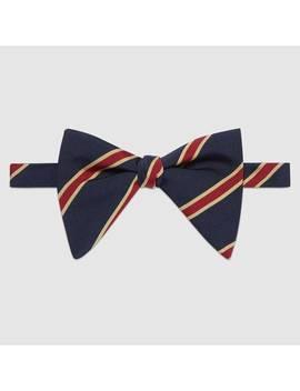 Striped Silk Cotton Bow Tie by Gucci