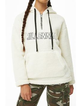 Millennial Graphic Faux Shearling Pullover by Forever 21