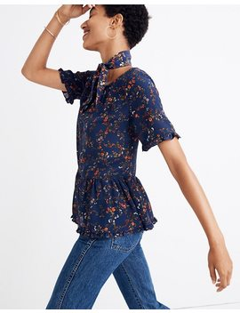 Silk Stanza Ruffle Hem Top In Moonless Floral by Madewell
