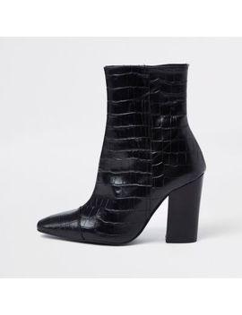 Black Croc Embossed Block Heel Boots by River Island