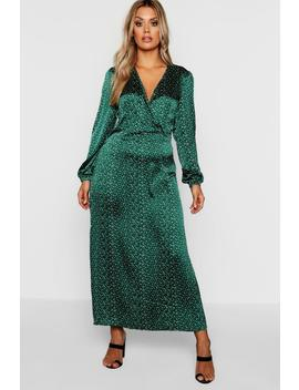Plus Spot Balloon Sleeve Wrap Dress by Boohoo