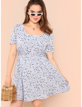 Plus Square Neck Fit And Flare Floral Dress by Shein