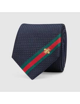 Krawatte Aus Seide Mit Webdetail Und Bienen Stickerei by Gucci