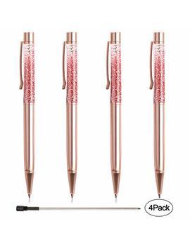 Ballpoint Pens, Bysou 4 Pcs Rose Gold Metal Pen Refills Bling Dynamic Liquid Sand Pen Black Ink For Office Supplies by Bysou