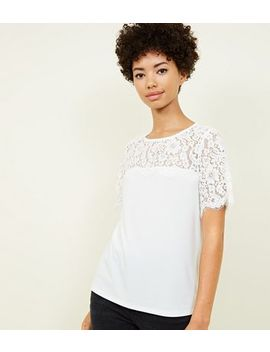 Off White Lace Yoke Short Sleeve Top by New Look