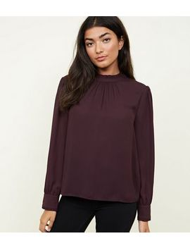 Dark Purple High Ruffle Neck Blouse by New Look
