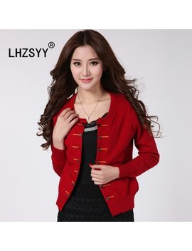Lhzsyy Spring Autumn New Wool Knit Cardigan Jacket Women O Neck Short Cashmere Sweater Double Breasted Solid Fashion Loose Jacket by Lhzsyy