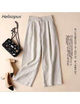 Helisopus Summer Cotton Linen Pants For Women Wide Leg Trousers Ol Leisure Loose Solid Color Pants Women's Elastic Waist Pants by Helisopus