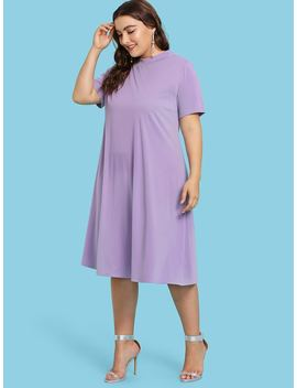 Plus Mock Neck Solid Tunic Dress by Shein