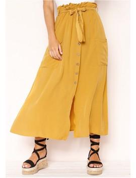 Paris Mustard Paperbag Button Midi Skirt by Missy Empire