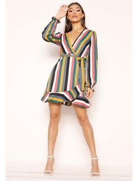 Morgan Multi Stripe Wrap Frill Dress by Missy Empire