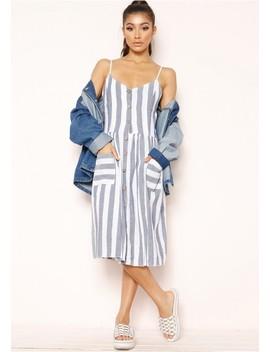 Tammy Blue Stripe Wooden Button Dress by Missy Empire