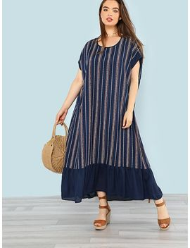 Plus Ruffle Hem Striped Maxi Dress by Shein