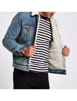 Levi's Blue Faux Shear Denim Trucker Jacket by River Island