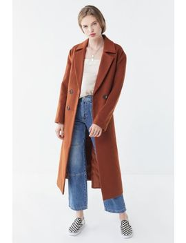 Uo Wool Double Breasted Overcoat by Urban Outfitters