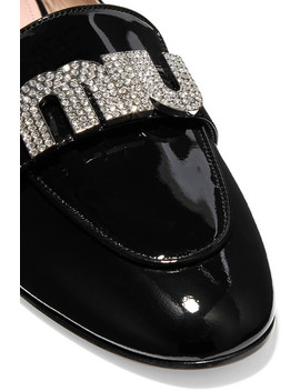 Crystal Embellished Patent Leather Loafers by Miu Miu