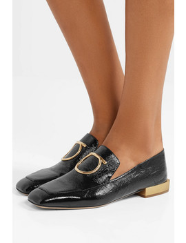 Lana Embellished Textured Patent Leather Collapsible Heel Loafers by Salvatore Ferragamo