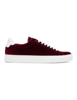 Burgundy Velvet Urban Knots Sneakers by Givenchy