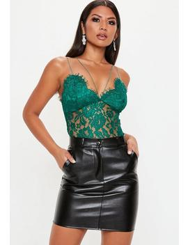 Green Corded Lace Harness Bodysuit by Missguided