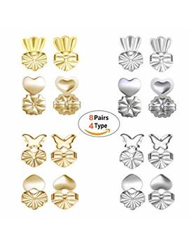 Earring Backs Lifters   Magic Bax 8 Pairs Earring Backs Set Adjustable Hypoallergenic Safety Locking Stud Earring Lifts Accessories For Women And Girls(4 Silvery, 4 Gold) by Amazon