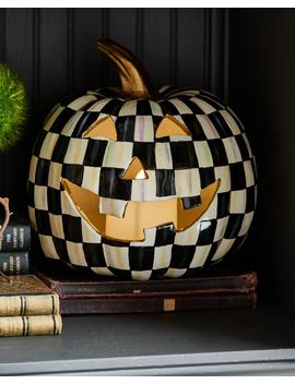 Courtly Check Illuminated Jack O' Lantern Halloween Decor by Mac Kenzie Childs