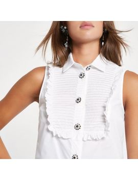 White Lace Hem Embellished Shirt by River Island