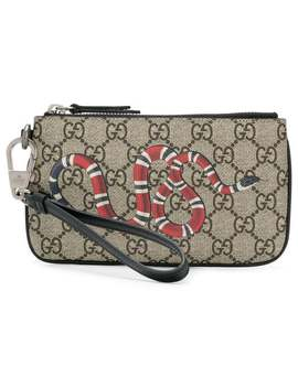 Snake Print Gg Supreme Card Holder by Gucci