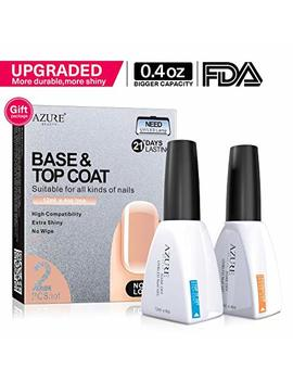 Base Coat No Wipe Top Coat Set For Uv Led Gel Nail Polish Led Nail Lamp 0.4 Ounce Big Capacity By Azurebeauty by Azurebeauty