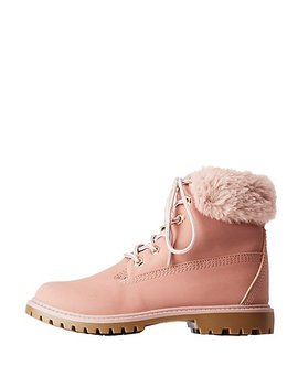 Faux Fur Lined Combat Boots by Charlotte Russe