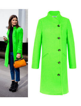 Bright Acid Neon Green Wool Double Breaste<Wbr>D Coat Long Street Suzane Unique by Get The Looks